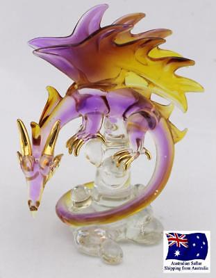 Handcrafted Magical Glass Dragon  - Gold Plated - Yellow & Purple