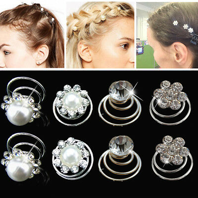 12X Bridal Wedding Crystal Pearl Flower Hair Coils Swirl Spiral Twist Pin