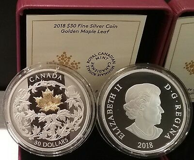 2018 Golden Maple Leaf $30 2OZ Pure Silver Proof 50mm Coin Canada