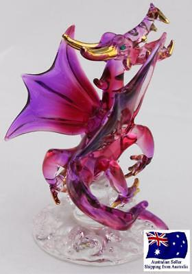 Handcrafted Mythical Glass Dragon - 24k Gold Plated - Red & Purple