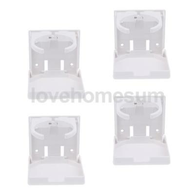 4 x Adjustable Folding Nylon Beverage Drink Can Cup Holder White for Boat RV