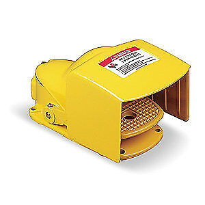 SQUARE D Steel Heavy Duty Foot Switch,Momentary Action, 9002AW124, Yellow
