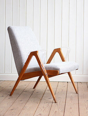 Vintage Retro Czech Upholstered Lounge Arm Chair Mid Century