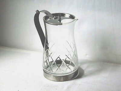 RETRO 1960's CRYSTAL CUT GLASS BAR WATER JUG W/ STAINLESS STEEL LID & HANDLE