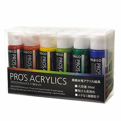 PADICO PRO'S ACRYLICS 11 color set Luxury water-based acrylic paint Japan F/S
