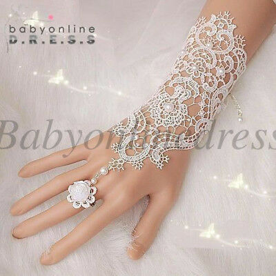Ivory Short Lace Pearl Wrist Fingerless Bridal Gloves Beaded Wedding Accessories