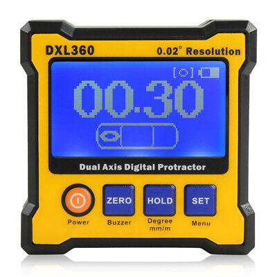 360° Digital LCD Magnetic Protractor Inclinometer Angle Cube Gauge Dual Axis USB