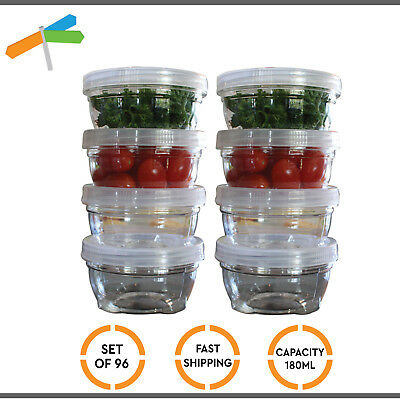 96x Twist Lock Storage Container Stackable Pack Food Organiser Airtight 180ml