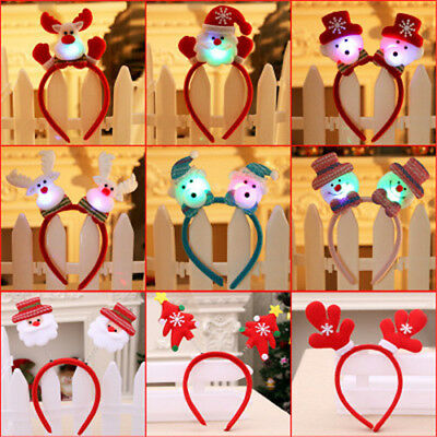 Adult Kids Christmas Novelty LED Headband Hat Costume Hair Clip Reindeer Santa