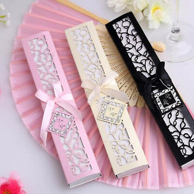 Chic Chinese Style Silk Folding Hand Held Fan for Party Wedding Favors w/ Box UK