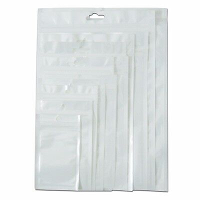Front Clear Back White Zip Lock Plastic Bag Reclosable Self Seal Hang Hole Pouch