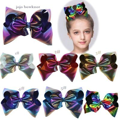 "JoJo hairpin bowknot 8"" Laser leather barrette Hair Bow Clip Big rib Bowknot Bow"