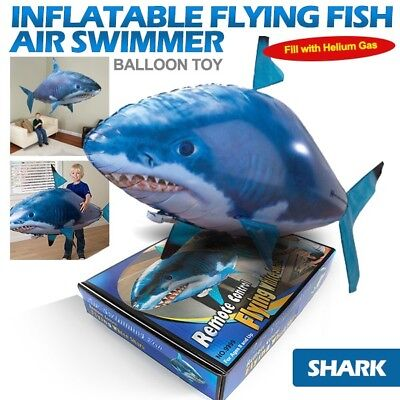 Inflatable Flying Fish Air Swimmer Shark Blimp Balloon Toy w/ RC Remote Control