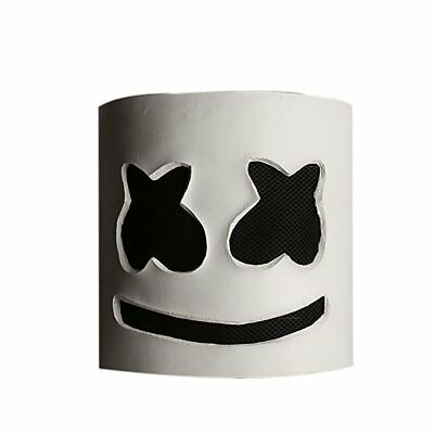 US STOCK DJ Marshmello White Mask Halloween Cosplay Costume Latex Helmet Prop