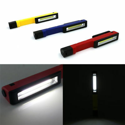 1X COB LED Pocket Pen Light Inspection Work Light Flashlight Torch with Clip HS