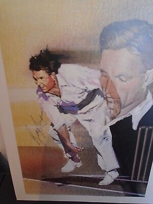 """Signed Cricket colour art style print  """" Ray LIndwall """""""