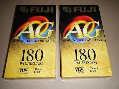 Two FUJI AG 180 3 hour  blank VHS video tapes -new sealed-