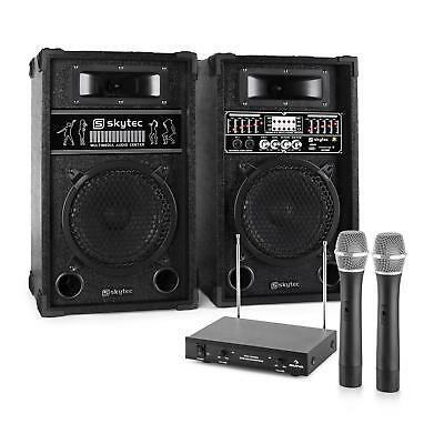 Karaoke Party Pa System 2 X Speakers 2X Microphones 600W Set Usb Sd Mp3