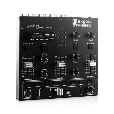 Pro 4 Channel Dj Mixer Usb Sd Line Phono Microphone In Compact Mixing Equipment