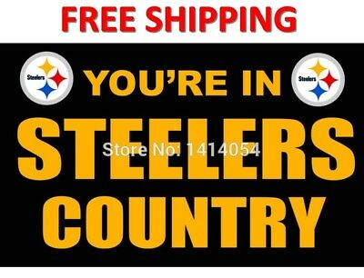 Pittsburgh Steelers Flag NFL Flag Banner You're In Steelers Country Flag 3x5FT