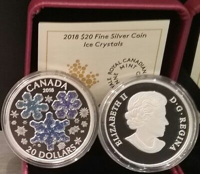 2018 Ice Crystals $20 1OZ Pure Silver Proof Coin Canada: Blue Sparkle Enamel
