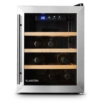 Klarstein Reserva 12 Uno Wine Cellar 9 Bottles 33 L Stainless Steel Led Counter