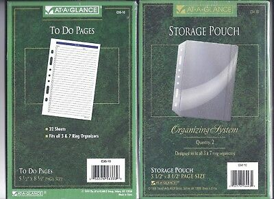 3 & 7 Ring Organizer To Do List Pages Refill & Storage Pouch SEALED 5.5 x 8.5