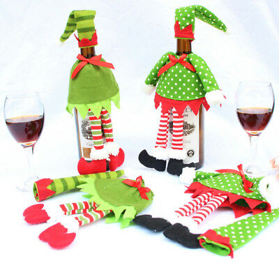 Christmas Green Elf Wine Bottle Cover Stripes/Dots Gift Wrap Bag Party Decor