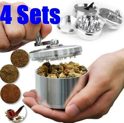 "4 SETS Herb Grinder Crusher for Tobacco 4 Piece 2"" Zinc Hand Muller Spice Silver"