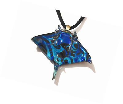 NEW Black Blue Hand Blown Made Manta Stingray Ocean Sea Life Pendant Necklace