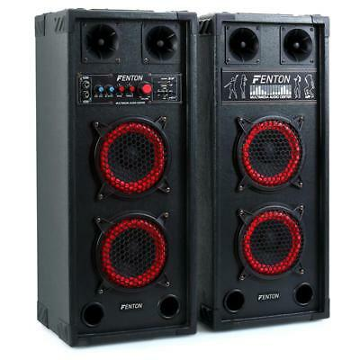 "600W DUAL 2x6.5"" ACTIVE HI-FI SPEAKERS SD USB DISCO PA LOUDSPEAKER KARAOKE PARTY"