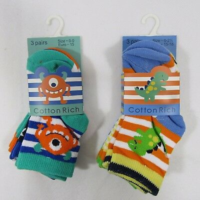 Baby Babies Boy Boys Monster Dinosaur Socks Pack Of 3 Cotton Rich Toddler Infant