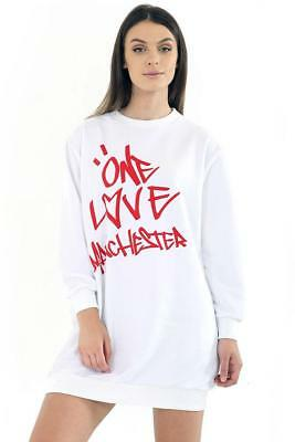 MH Ladies Printed Celeb Baggy ONE LOVE MANCHESTER Sweatshirt Tunic Women Dress