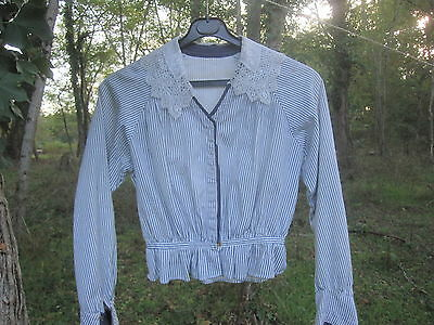 Antique French 1900 Coton Shirt with laced collar Chemise