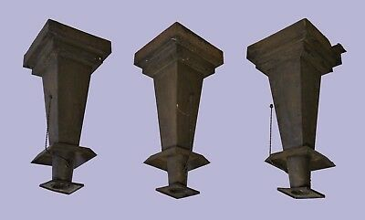 Three Antique Arts and Crafts Mission Style Gothic Column Ceiling Light Fixtures