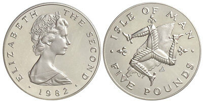 Isle of Man - Elizabeth II 5 Pounds 1982, Rare, 1000 pieces minted only. 001