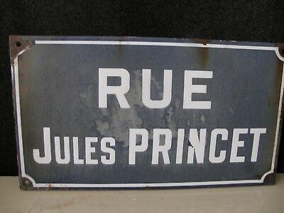 Brocante French Enamel Street  Name Sign name Jules Princet.