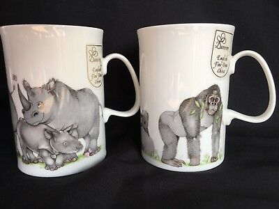 DUNOON~*Gentle Giants-Rhino & Gorilla*~by Cherry Denman-2 Fine China MUGS/Unused