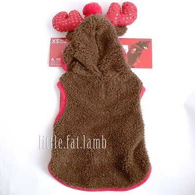 Pet Dog Puppy Cat Kitty Xmas Reindeer Suit Costume Size XS 9 - 11 in