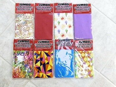 "Lot of 8 Jumbo Stretchable Book Covers 10.5"" x 11.5"" Solids and Patterns"
