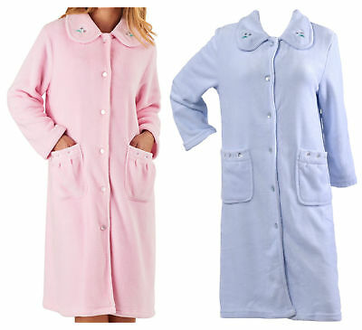 Dressing Gown Womens Floral Collar Button Up Bath Robe Slenderella Housecoat f11a6050e