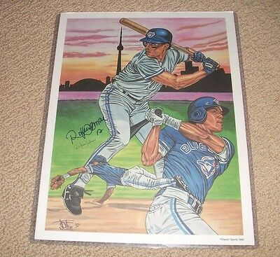Roberto Alomar - SIGNED John 1992 Numbered Art Print 11X14 Blue Jays