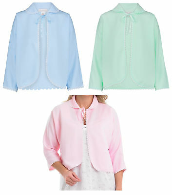 Bed Jacket Slenderella Ladies Polar Fleece Ribbon Floral Embroidery Housecoat