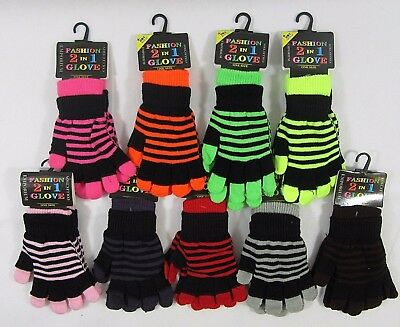 Adults Childrens Kids Girls Boys Gloves Fingerless One Size Striped 2 in 1 neon
