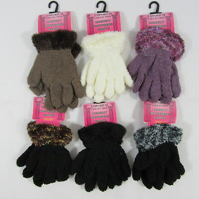 Childrens Kids Girls Boys Gloves Fluffy One Size Winter Warm Pink Purple Stretch