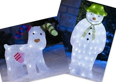 The Snowman/The Snowdog White Acrylic - Indoor/Outdoor LED Lights/Decorations