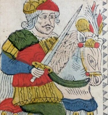 Cavalier of Swords c1768 Authentic Tarot Playing Cards Woodcut Historic Single