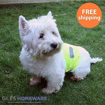 High Vis Dog Vest Reflective Yellow Visibility Hi Viz Safety Jacket Coat S M L