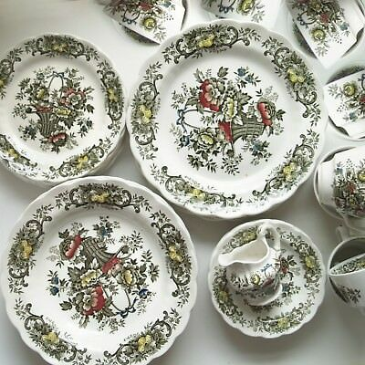 Staffordshire Ridgway Old English Bouquet Suppen-Teller grün