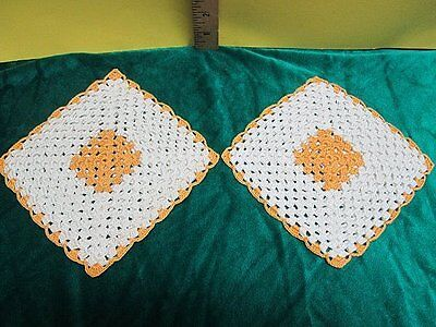 Vintage Crochet Golden Yellow and Cream Colored Potholders / Hot Pads